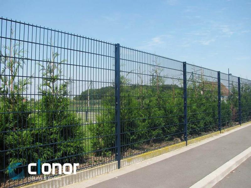 Clôture rigide avec panneaux bifils ral 5008 gris bleu